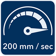 Maximalgeschwindigkeit von 200 mm/ sec.